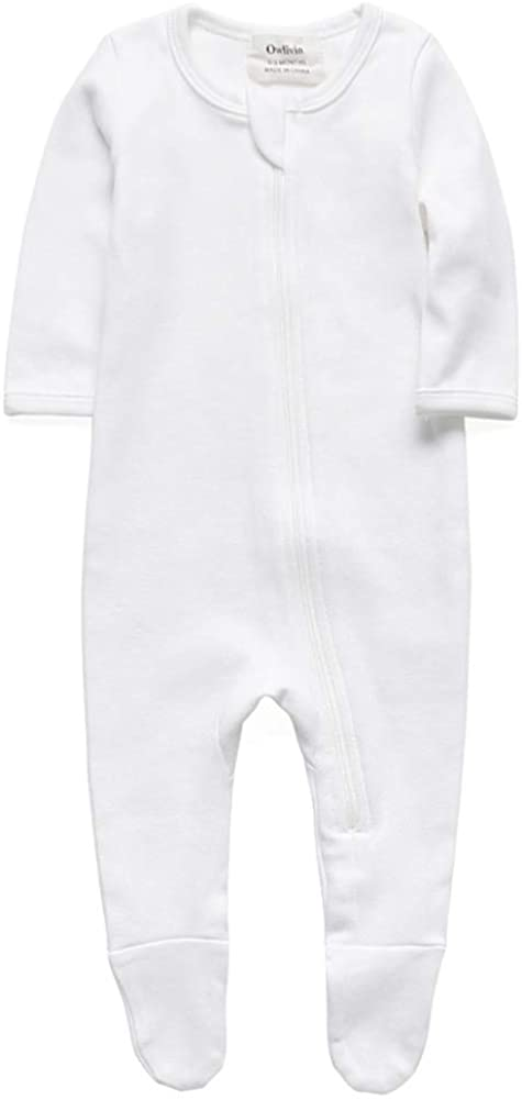Baby Boys Girls Organic Cotton Zip Front Long Sleeve Pajamas, Footed Sleep 'n Play