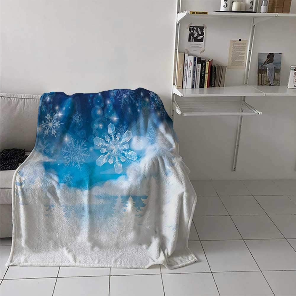 painting-home Soft Blanket Christmas Trees Setting with Snowflakes and Stars New Year Graphic Image Lightweight Summer Blankets for Kid Baby Toddler Teenager Blue White 70 x 90 Inch