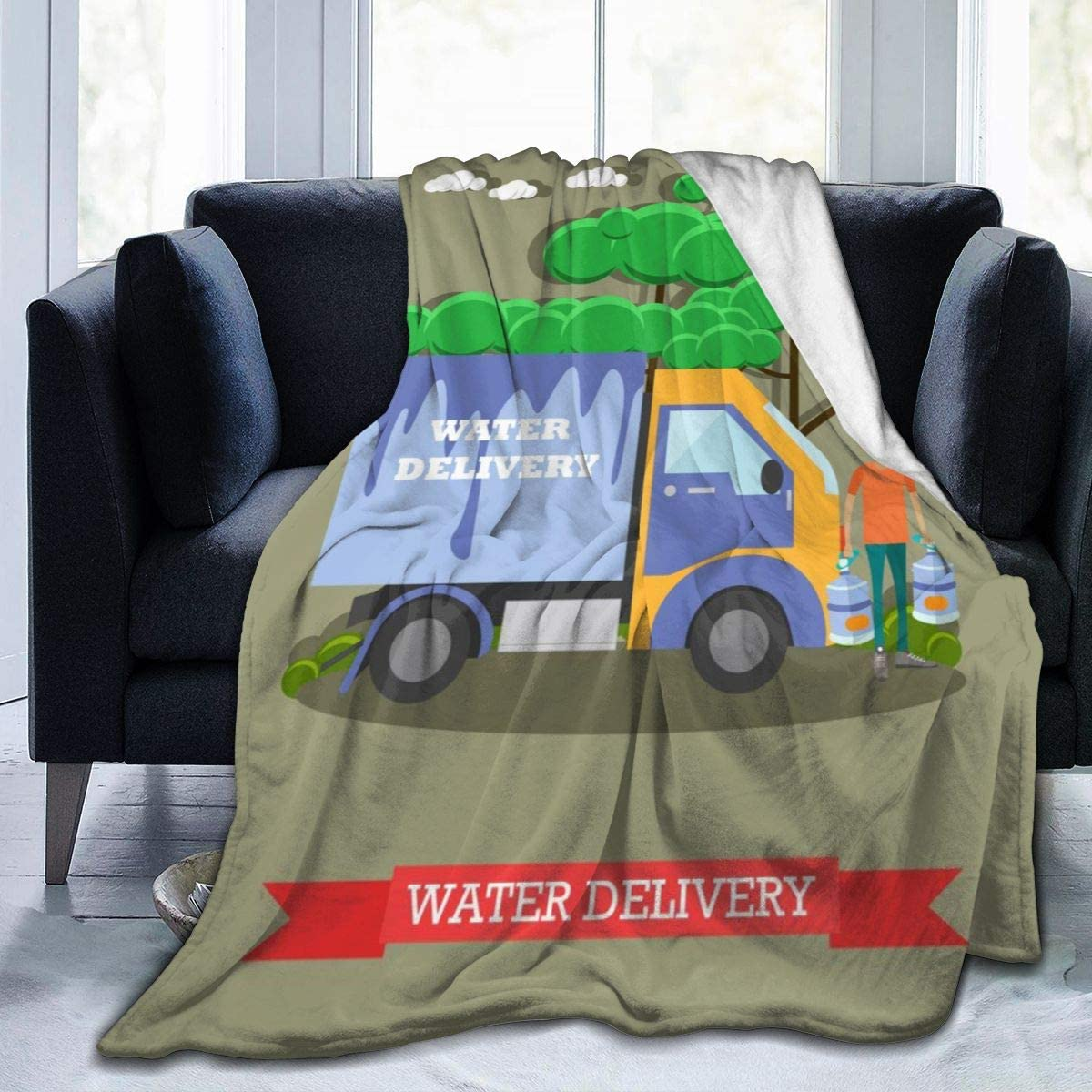 Micro Fleece Plush Soft Baby Blanket Water Delivery Truck Delivery Man Fluffy Warm Toddler Bed/Crib Blanket Lightweight Flannel Daycare Nap Kids Sleeping Tummy Time Throw Blanket Girls Boy Kid/Baby