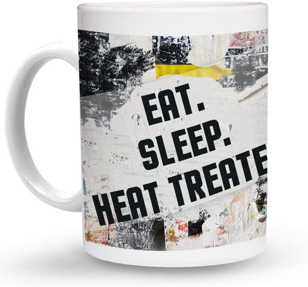 Makoroni - EAT SLEEP HEAT TREATER 6 oz Ceramic Espresso Shot Mug/Cup Design#92