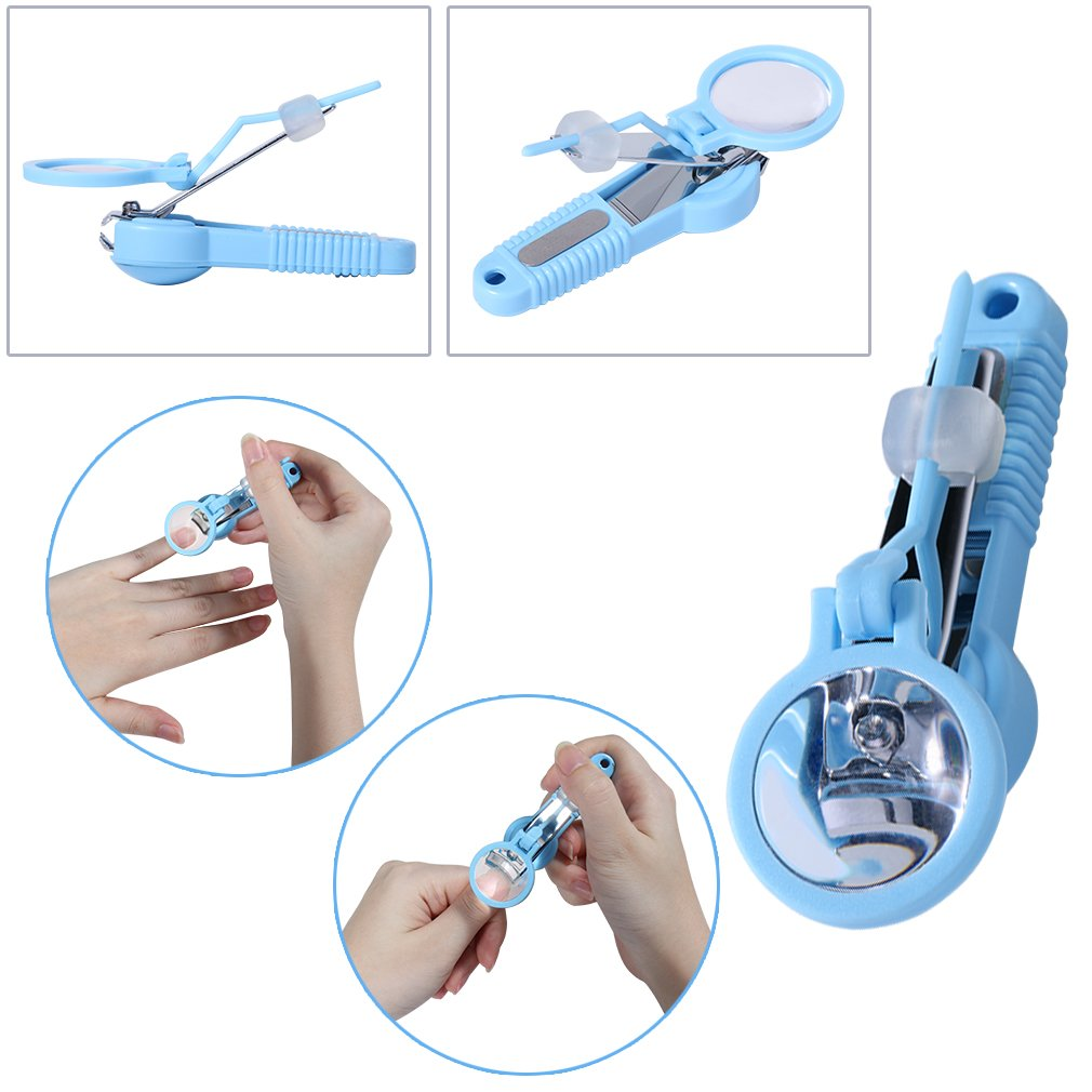 Elite99 Clear Finger Toe Nail Cutter Clipper with Detachable Magnifier Blue Nipper for the Elderly or Child Manicure Tool