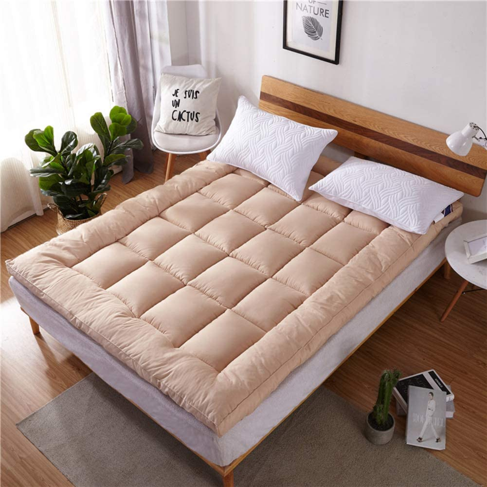 JanIST Plush Warm Not-Slip Mattress, Quilted Tatami Floor Mat Extra Thick Mattress Topper Collapsible Dormitory Mattress Pad Overfilled-f 120x200cm(47x79inch)