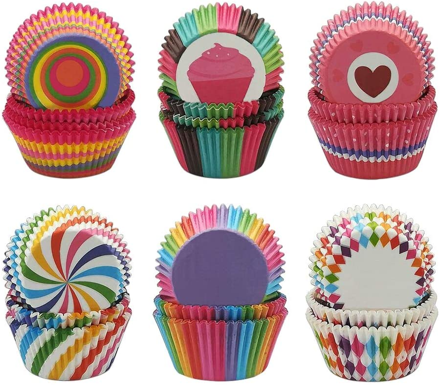 600pcs Cupcake Liners, Disposable Paper Baking Cups Rainbow Cupcake Wrappers Nonstick Muffin Cases Molds, 6 Styles Cupcake Liners for Cake Balls, Muffins, Cupcakes and Candies