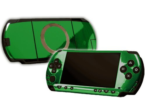 Green Chrome Mirror Vinyl Decal Faceplate Mod Skin Kit for Sony PlayStation Portable 1000 (PSP) Console by System Skins