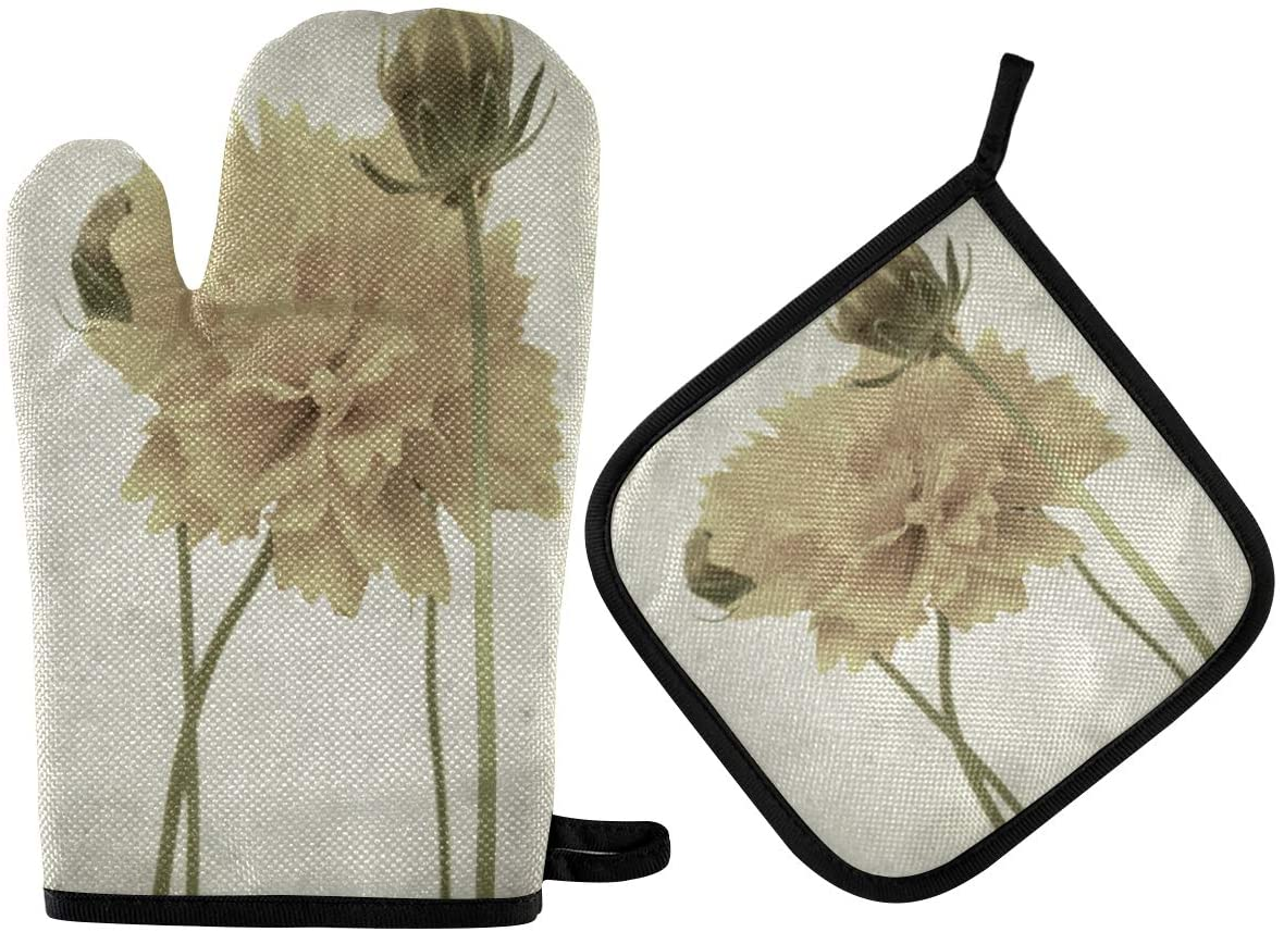 N\ A Marvellous Textured Old Paper Floral Flowers Oven Mitt and Potholder Set, 2 Pack ? Heat Resistant to 400 F ? Handle Hot Items Safely ? Non-Slip Grip Oven Mitt and Pot Holder with Hanging Loop