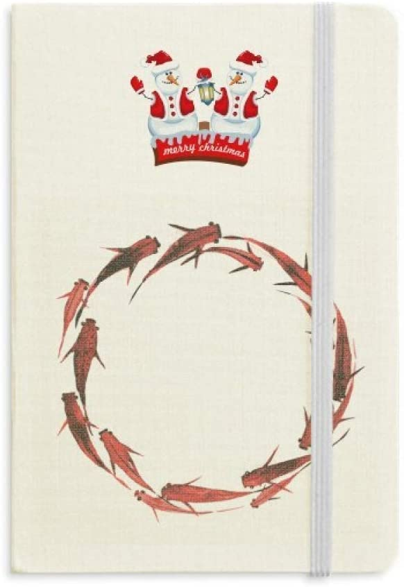Chinese Red Carp Fish Animal Christmas Snowman Notebook Thick Hardcover