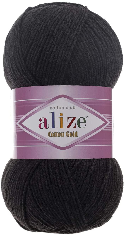 55% Cotton 45% Acrylic Yarn Alize Cotton Gold Thread Crochet Hand Knitting Art Lot of 4skn 400 gr 1444 yds Color 60 Black
