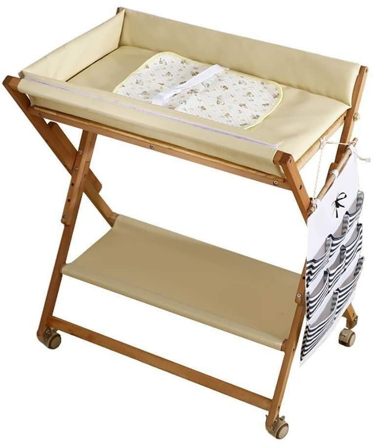 JN Baby Changing Table Baby Changing Table White Wood On Wheels, Folding Diaper Organizer Station for Small Space Baby Crib