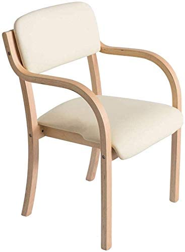 QTQZDD Faux Leather Chairs Upholstered Wooden Armchair Dining Chairs Living Room Kitchen Study Chairs for Kids & Adults Max Load 200KG (Color: Beige)