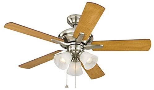 Harbor Breeze Lansing 42-in Brushed Nickel Indoor Downrod Mount Ceiling Fan with Light Kit