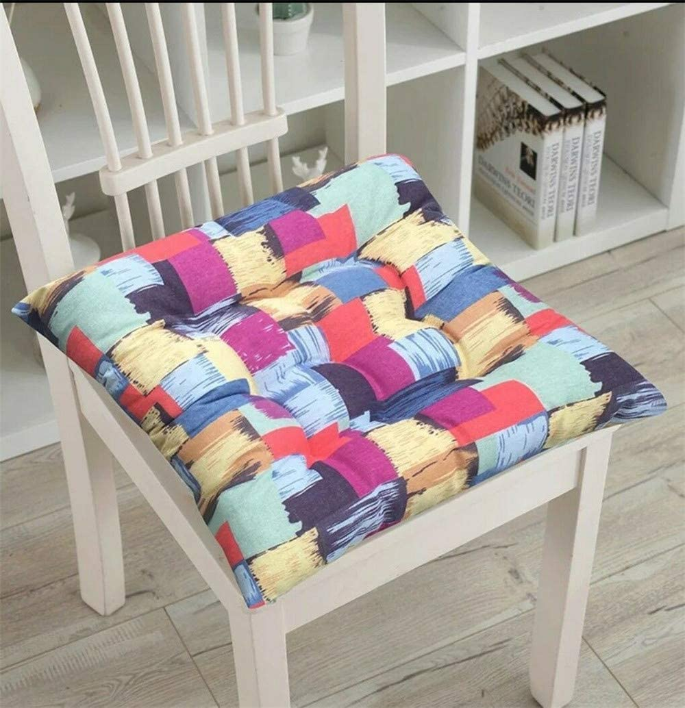 WEIZI Home Colorful upholstered Cushions Chair seat Cushion with Ties on seat Cushion Many Colors for Garden Terrace Kitchen Food (45 45cm A)