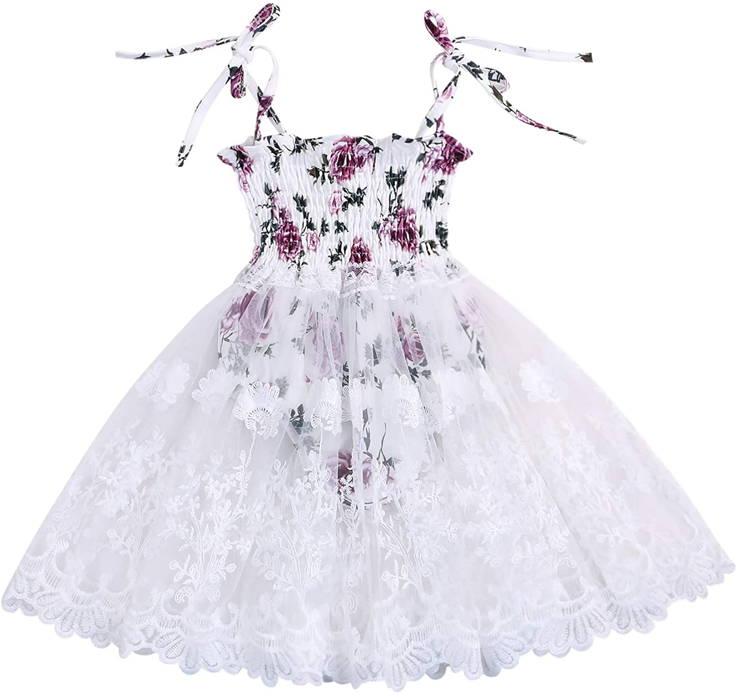 YOUNGER TREE Infant Toddler Baby Girls Summer Dress Ruffle Strap Floral Lace Halter Dresses Peplum Romper Outfit