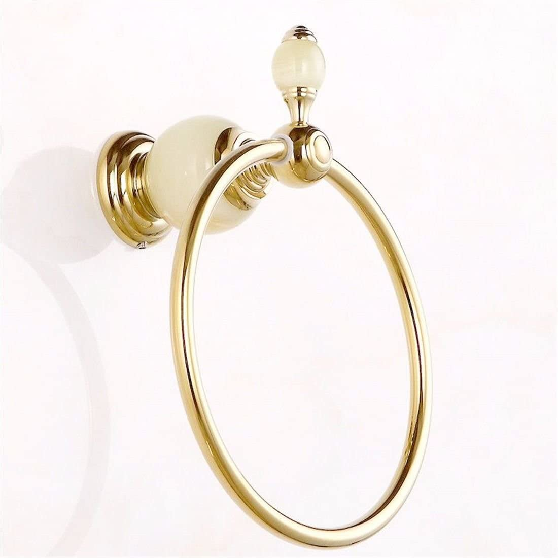 AiRobin-Continental Brass Jade Base Wall Mounted Towel Ring Bathroom Accessory