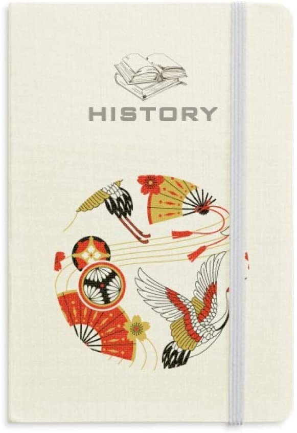 Crane Folding Fan Sakura Pattern History Notebook Classic Journal Diary A5