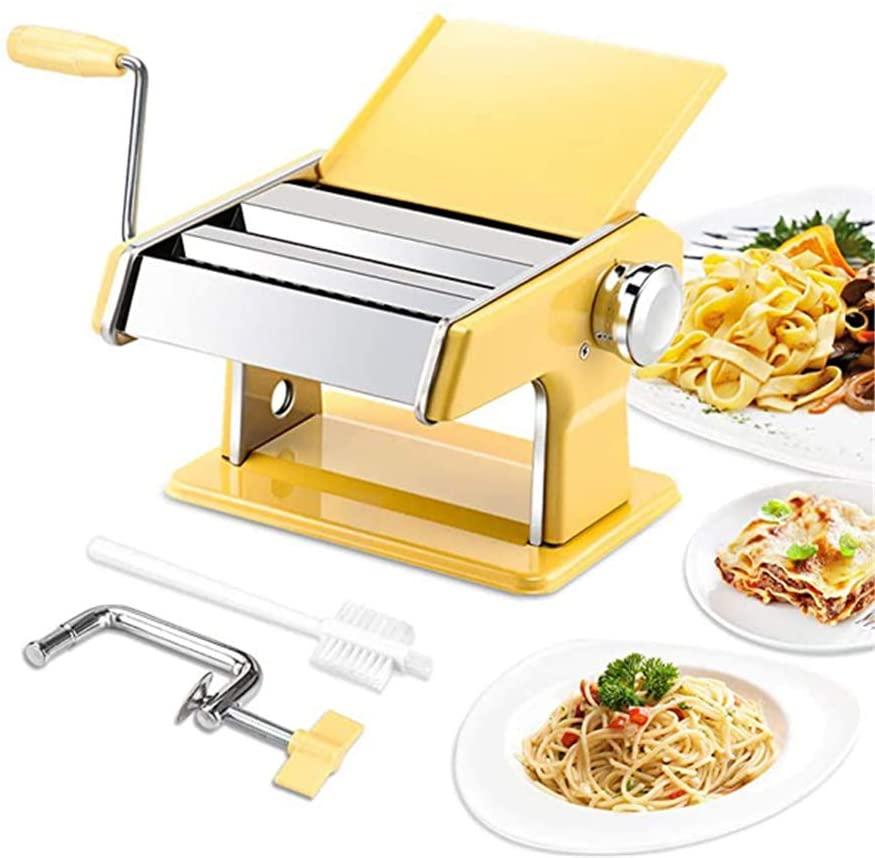 XWSD Pasta Machine, Stainless Steel Roller Pasta Maker, 7 Adjustable Thickness Settings, for Spaghetti, Fettuccini, Lasagna or Dumpling