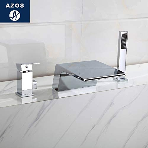 Azos Split Bathtub Faucet Waterfall Mixing Valve Brass Chrome Cold and Hot Switch Two Function Northern Europe Pressurized Bathtub SquareDeck Mounted 3 Pcs32-40mm AYGSJB010A01
