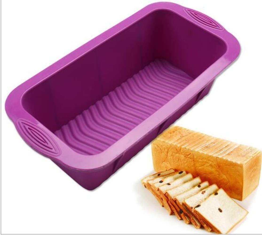 Youzpin 25127.5 CM Rectangular Toast Silicone Bake Pan, Long Loaf Cake Nonstick Baking Mold,Bread Cake Baking Mold Tray~Random Color