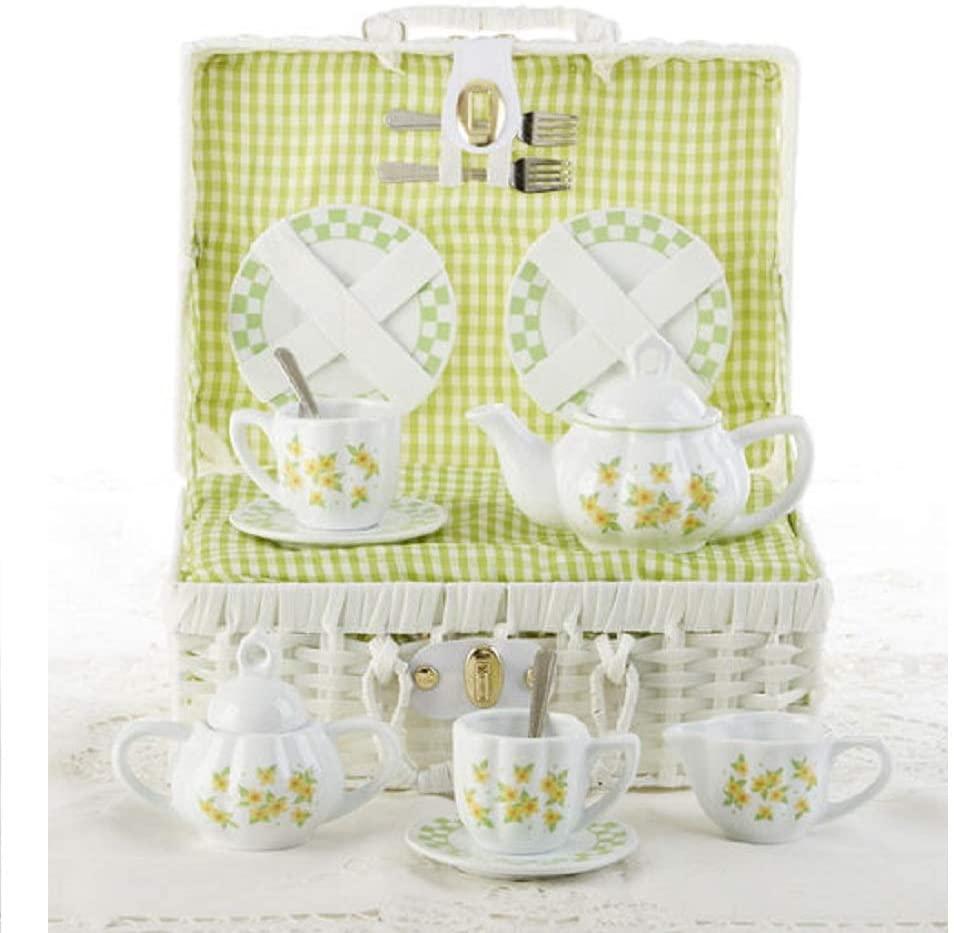 Delton Product Porcelain Tea Set in Basket Yellow Sue