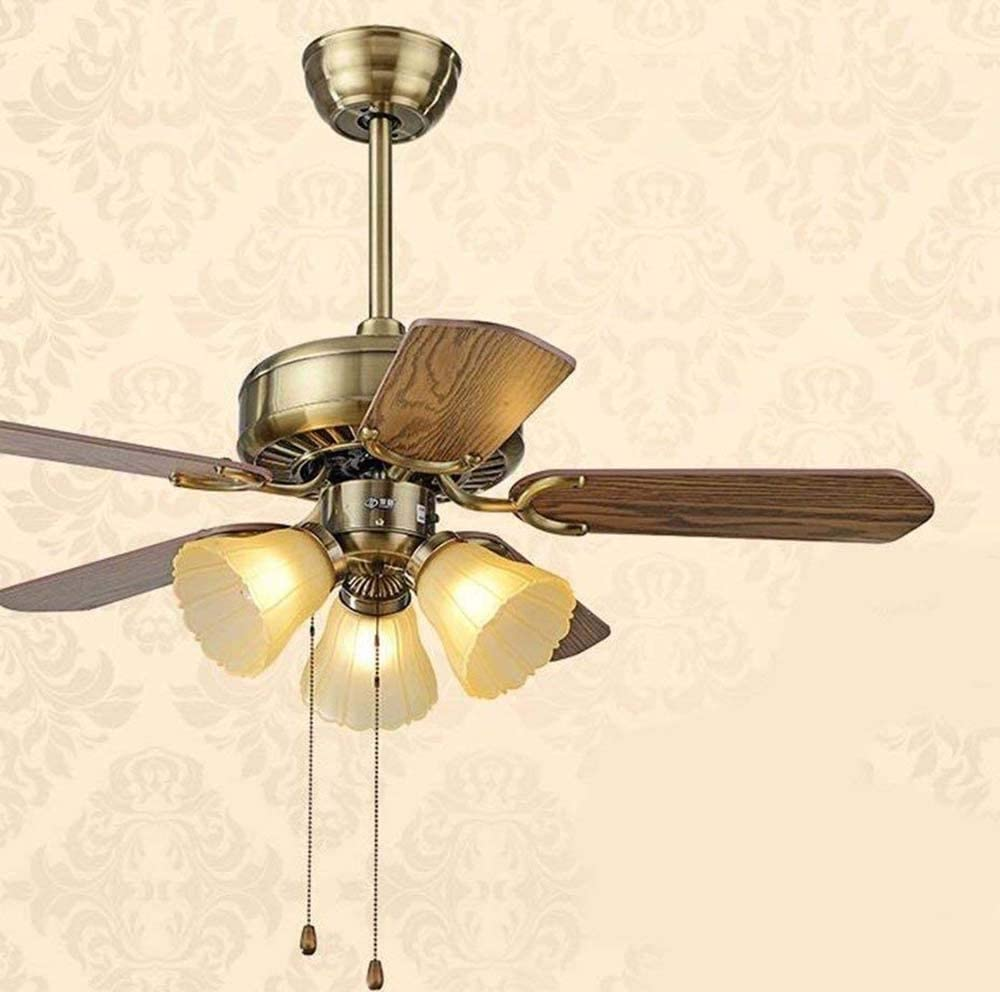 Well-Made Ceiling Fan with Lamp Bedroom European Styleled Ceiling Fan Fan Light Lighting Lamps Diameter 107Cm Three Light Wood with Mr Remote Control Beautiful