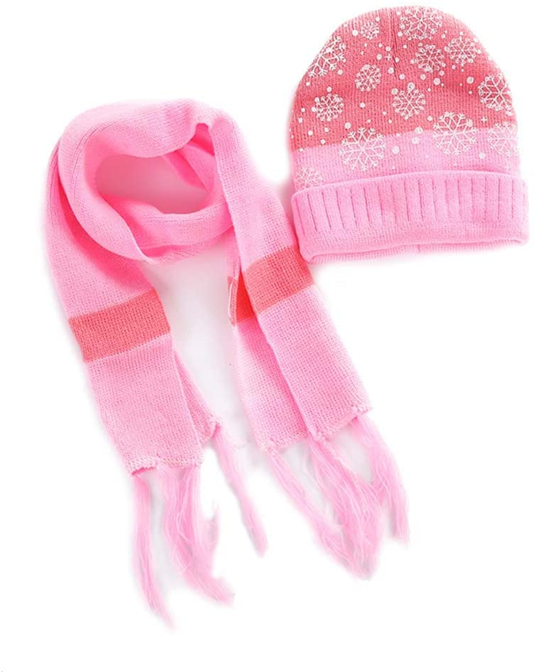 WLG 2Pieces/Set Children Knitted Hat Cuffed Ribbed Tassels Striped Scarf Christmas Snowflake Pattern Contrast Color Beanie Ca