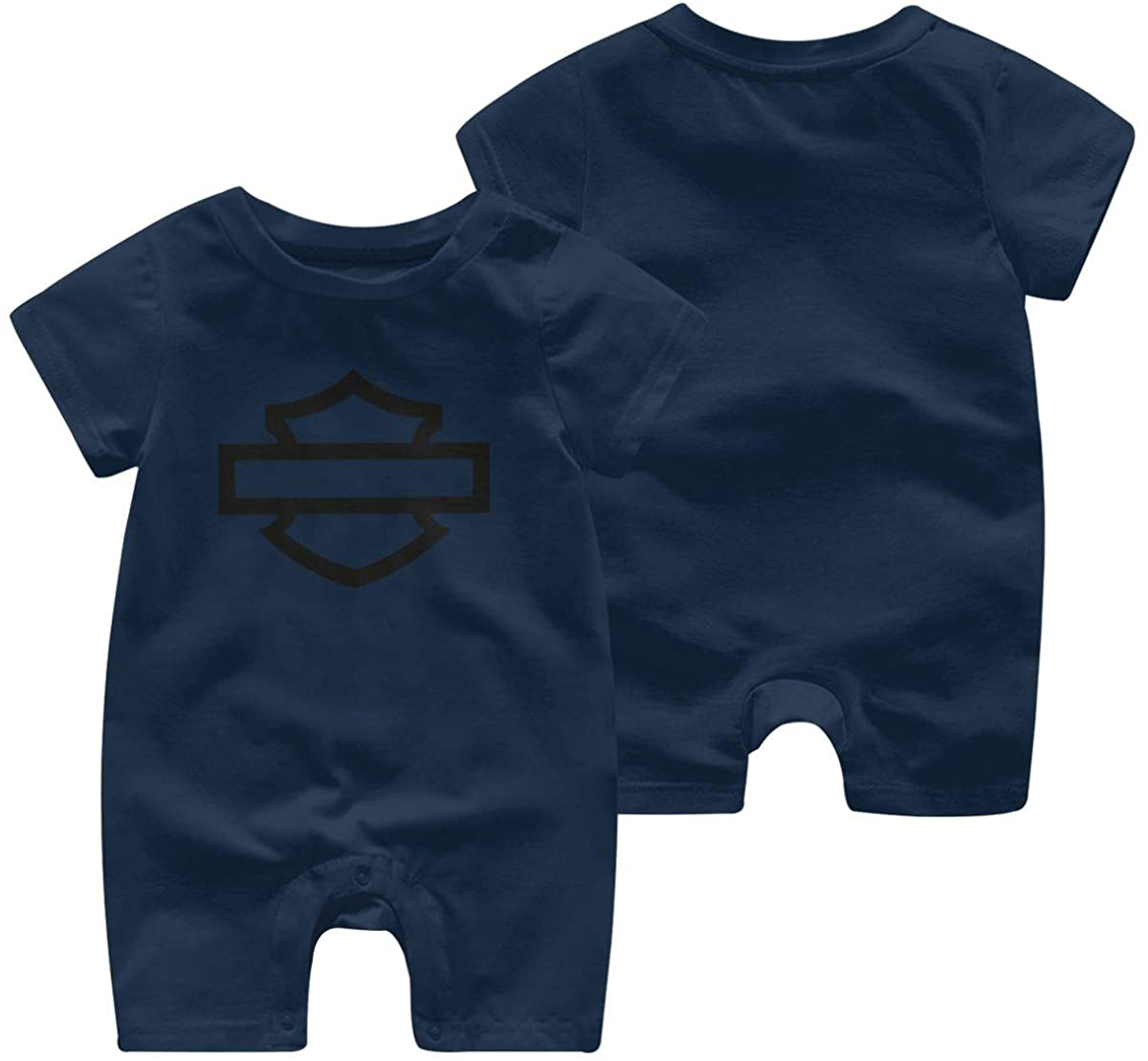 Harley Davidson One Piece Outfits Baby Solid Color Rompers with Button Kids Short Sleeve Playsuit Jumpsuits Cotton Clothing 6 Months Navy