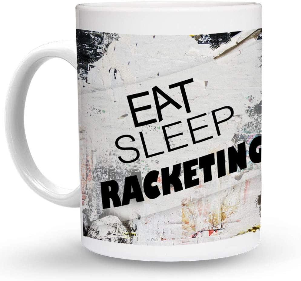 Makoroni - EAT SLEEP RACKETING Sport 6 oz Ceramic Espresso Shot Mug/Cup Design#69
