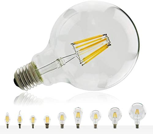 Asljiksy ​LED Filament Bulb E27 E14 Retro Lamp 220V-240V Light Bulb C35 G45 A60 ST64 G80 G95 G125 Glass Bulb Candle Light Cold White G45 E27 6W
