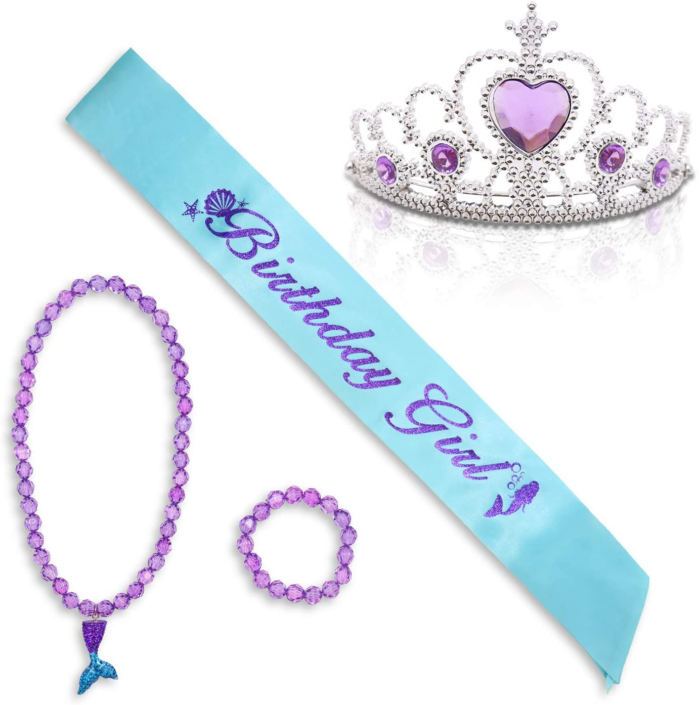 Mermaid Sash Crown Pendant Necklace Bracelet Set for Girl's Birthday Supplies Under The Sea Girls Tiara Dress Up Party Favors