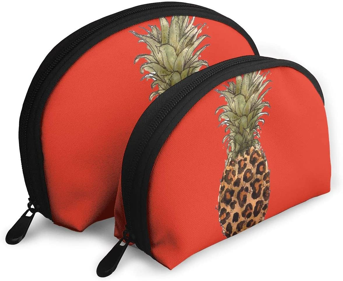 2Pcs Shell Makeup Bags Leopard Pineapple Travel Portable Toiletry Bags Small Makeup Clutch Pouch