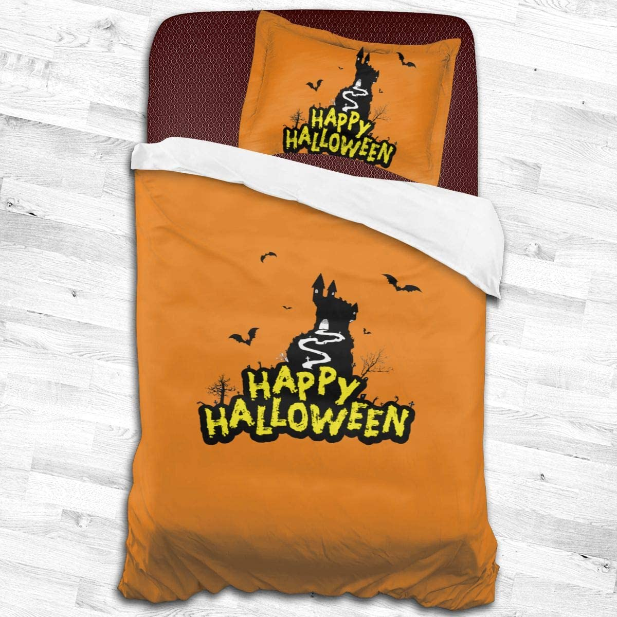 Qwtywqekeertyi Halloween Cotton Student Dormitory Quilt Cover Two-Piece Quilt Cover for Boys and Girls On Single Beds