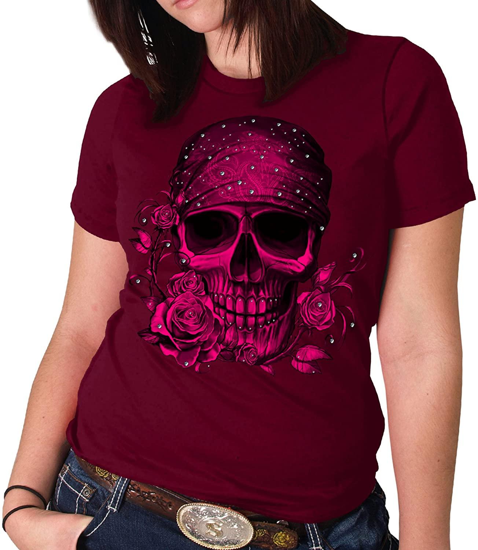 Hot Leathers Crystal Studs Bandana Skull Womens Full Cut Biker T-Shirt (Wine, Small)