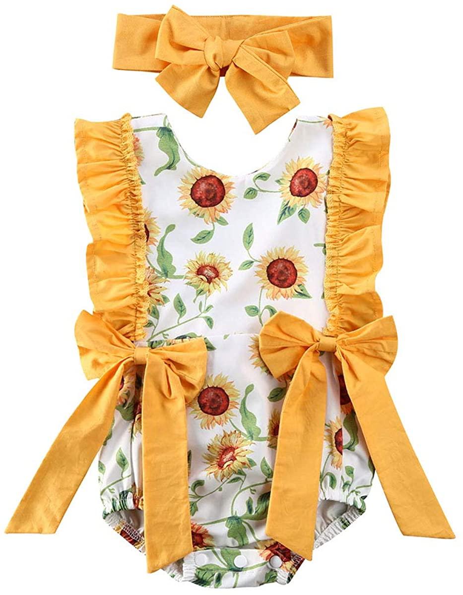 Ambabe 2PCS Newborn Baby Girl Clothes Sleeveless Ruffled Bowknot Sunflower Print Romper+Headband One-Piece Bodysuit Jumpsuit