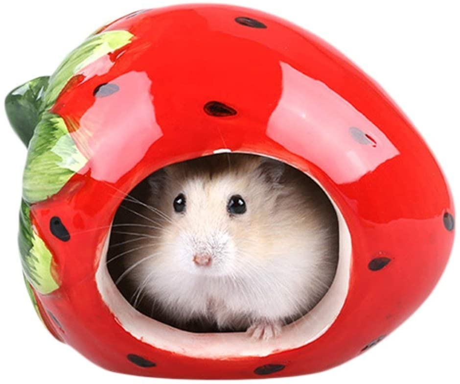 Dwarf Hamster Hideout Adorable Cartoon Shape Hamster House Chinchilla Mini Hut Small Animal Ceramic Hideout Cave