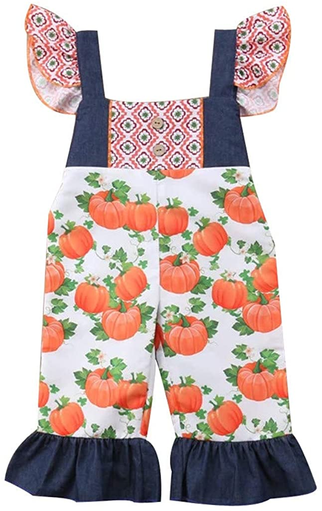 ZEFOTIM Halloween Baby Bodysuits, Toddler Baby Kids Girls Halloween Pumpkin Print Overall Jumpsuit Sister Clothes