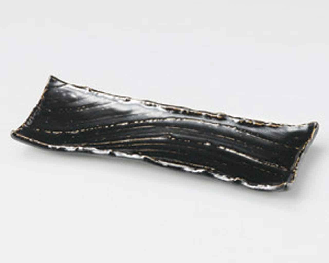 Tenmoku Karesansui 12.2inch Set of 5 Long Plates Black porcelain Made in Japan