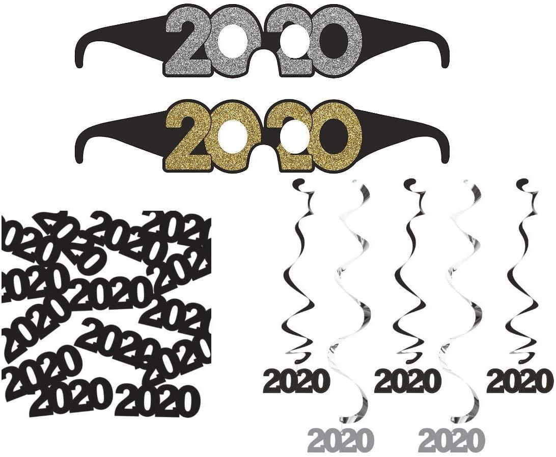 2020 Graduation Decorations | 2020 Dizzy Danglers | 2020 Black Confetti | 2020 Gold Silver and Black Paper Favor Glasses | Great for Graduation Party