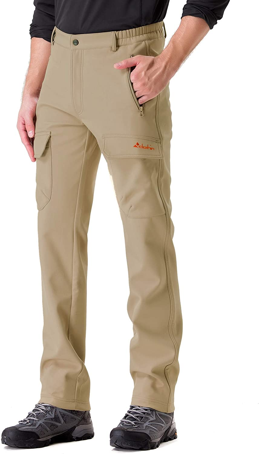 Clothin Mens Softshell Fleece-Lined Cargo Pants - Warm, Breathable, Water-Repellent, Wind-Resistant-Insulated