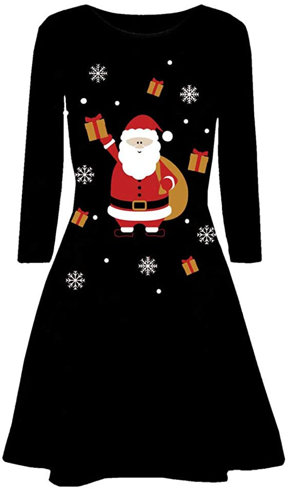 ZEFOTIM 2019 Christmas Dress, Women Christmas Printed Long Sleeve Evening Prom Costume Swing Dress