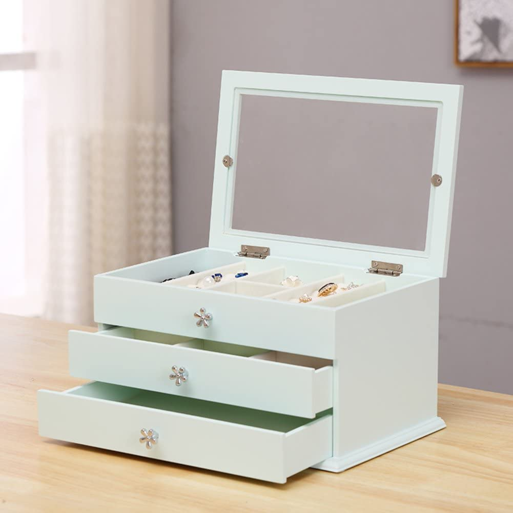 Classic Wooden Jewelry box,Princess Jewelry storage box Jewelry organizer Travel case 3 layer 2 drawer Holder for earring ring necklace bracelet watch-C 30x20x15cm(12x8x6)