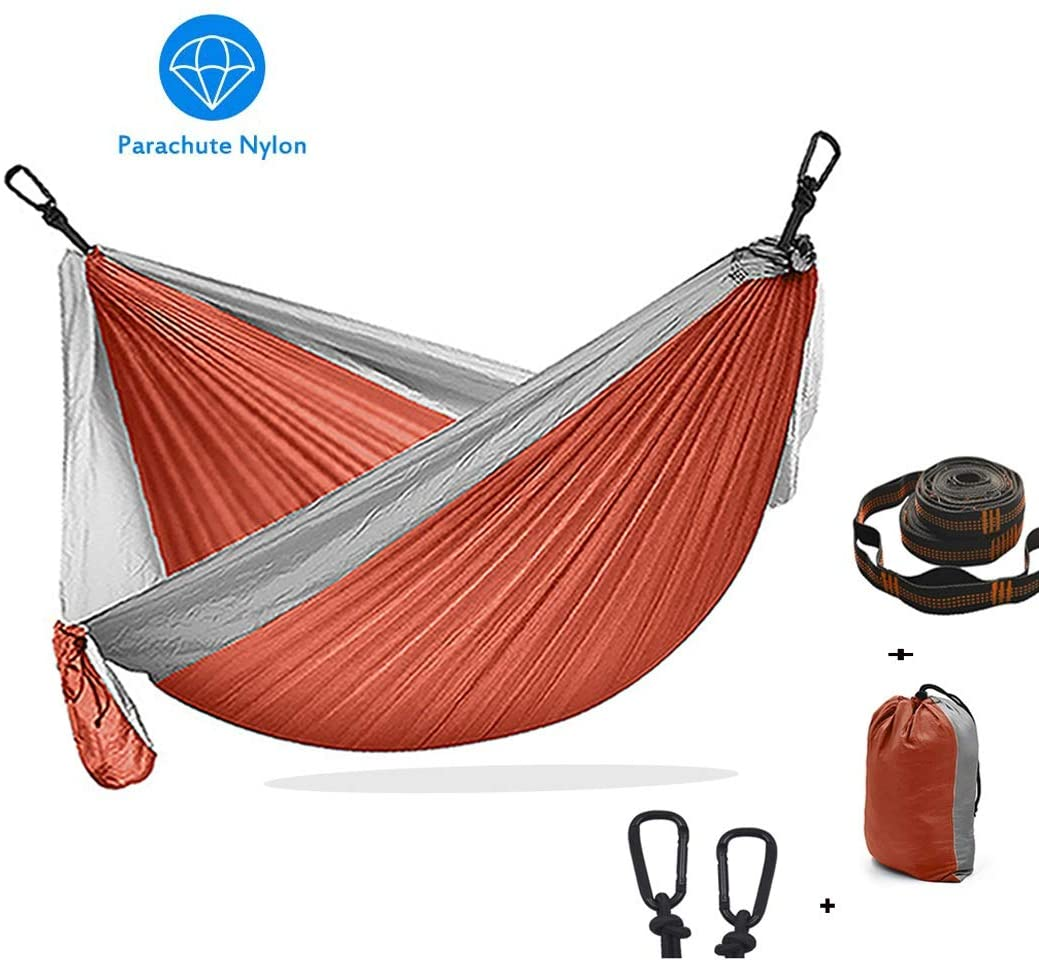 XXJF Camping Hammock Portable with 2 Tree Straps & Carabiners Reinforced,not to Tear Camping Tree Hammocks Parachute Fabric 210t Nylon for Backpacking, Camping, Travel, Beach, Yard.