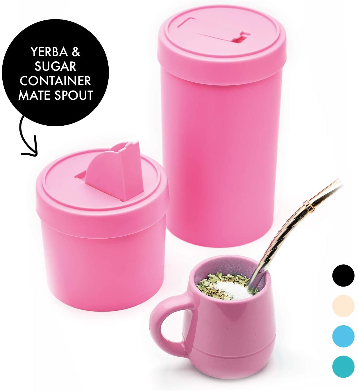 BALIBETOV - New - Modern Yerba Mate Kit - Yerba Mate Container (Yerbero) Sugar Container and Mate Gourd Included - All BPA Free - Designed with a Mate Spout for Easy Serving (Pink)