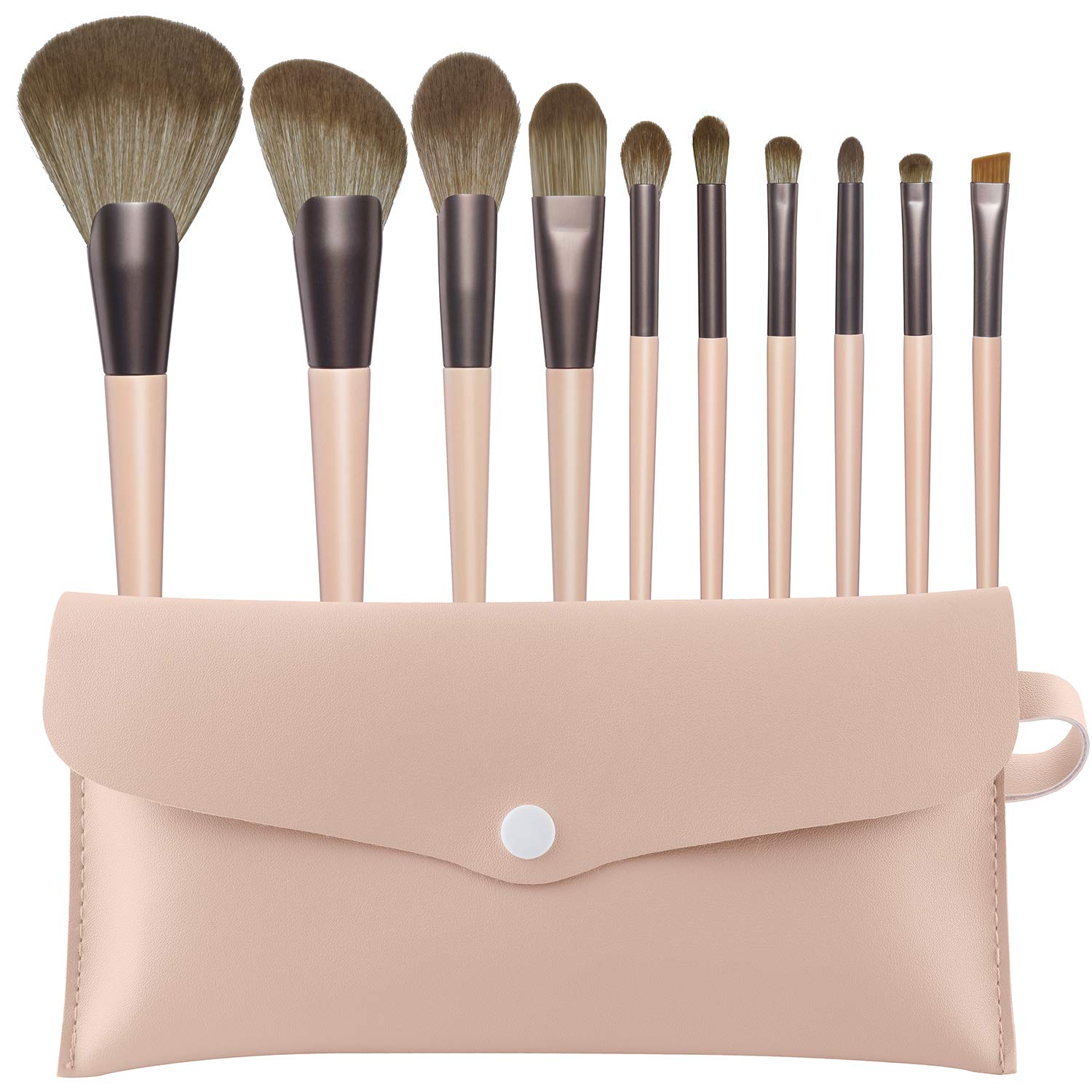 Premium Synthetic Makeup Brushes Set – 10 Pcs Cosmetic Brushes for Makeup with Carry Bag, Great for Foundation Powder,Concealers and Eye Shadows, Idea Gift for Lovers (Pink)