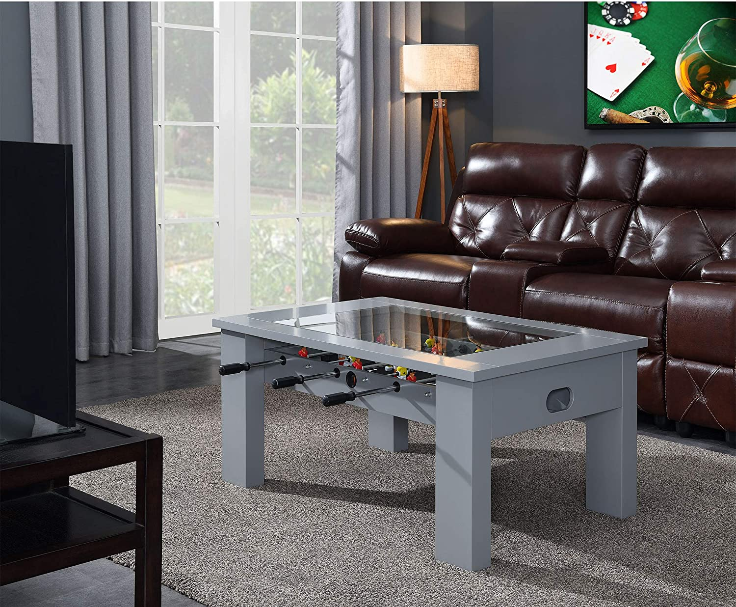 Hanover Foosball Coffee Table with Telescopic Rods and Counterbalanced Players, Grey