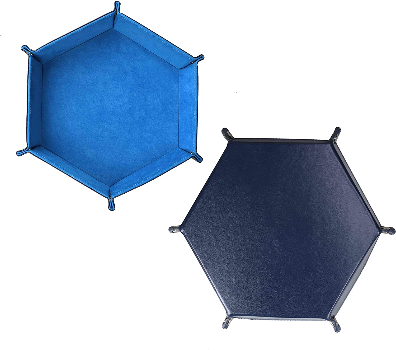 Dice Tray Dices Rolling Holder Velvet PU Leather Folding Snap Storage Box Hexagon for Jewelry, Coin, RPG, DND and Other Table Games, Blue