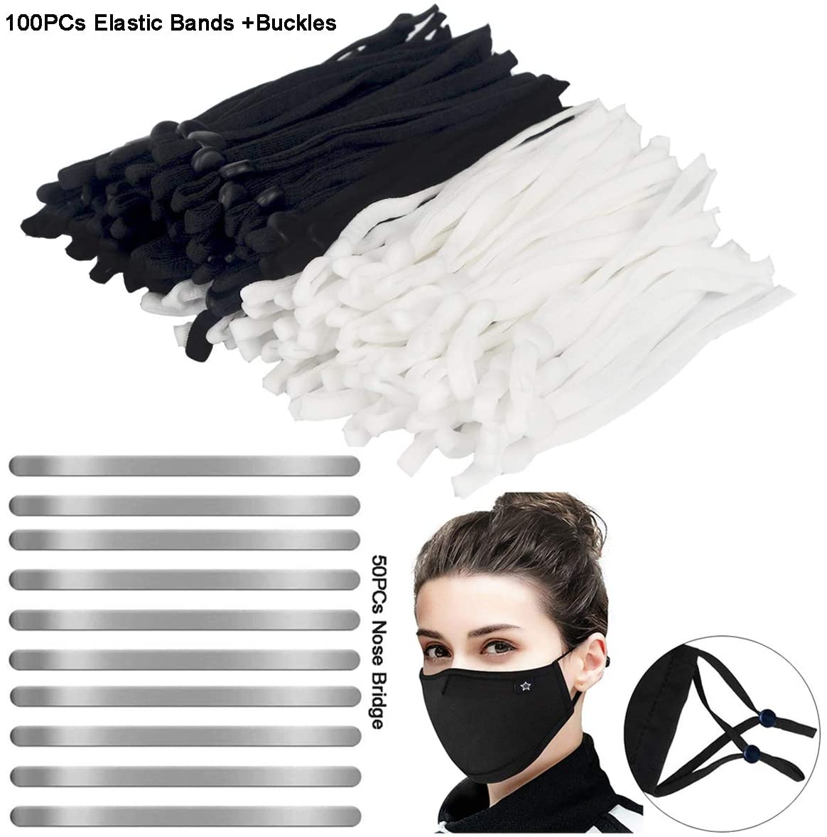 Mask Making Supplies Set, 100 Pieces Elastic Band Cord with Adjustable Buckles, Stretch String Lanyard Rope, 50 Pieces Nose Bridge Strips, Aluminum Metal Flat Wire Strip for Mask Making Accessories