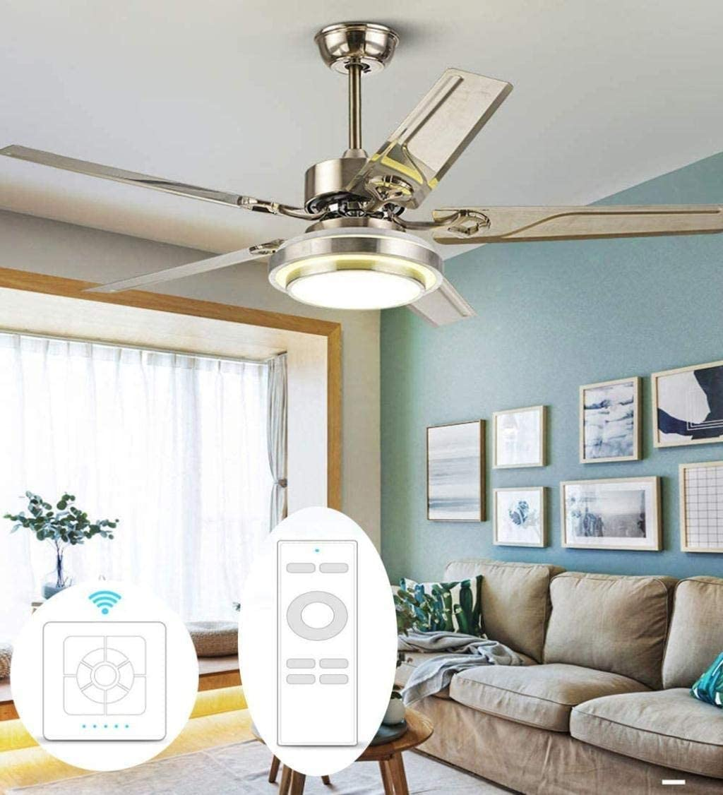 Chandelier 24W Stainless Steel Ceiling Fan Lamp LED Mute Electric Fan Frequency Conversion Six Gears Positive and Negative Function Timing Shutdown Dual Control Ceiling