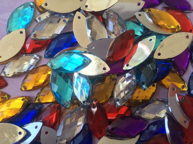 100pcs 9x20mm Horse Eye Shape Mix Colors Sew On Acrylic Rhinestones Flatback Fancy Stones Sewing for Clothing Wedding Dress Decorations (AB)