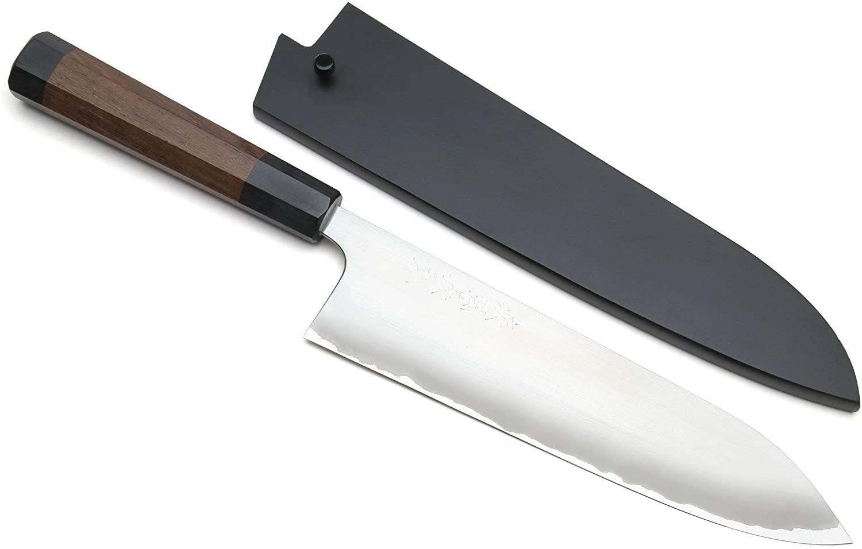 Yoshihiro Blue Steel #1 Masashi Aoko Stainless Clad Gyuto Chef Knife (7'' (180mm) & Saya)