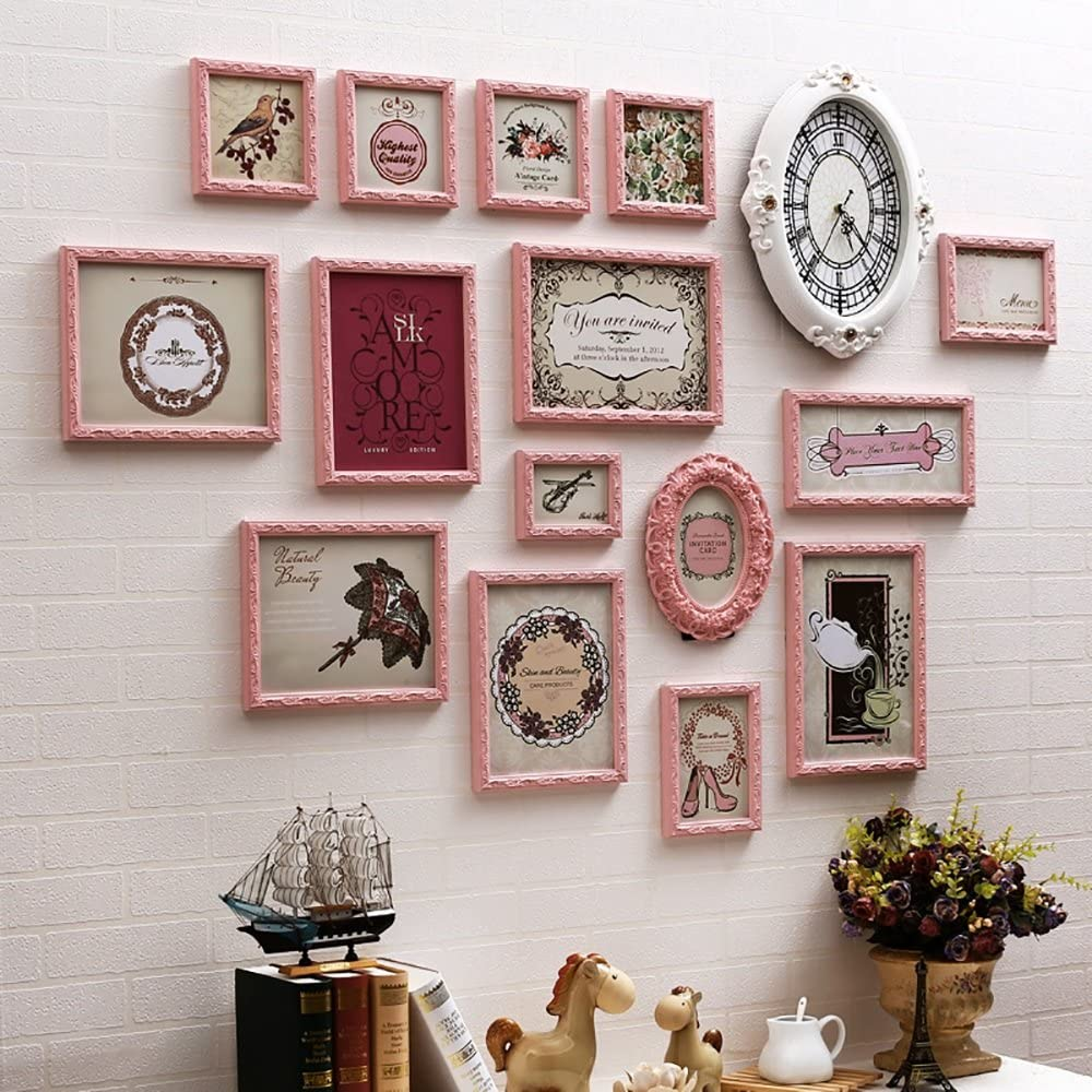 12 multi-frame photo wall photo frame wall irregular European solid wood living room bedroom combination photo wall (Color : Pink)