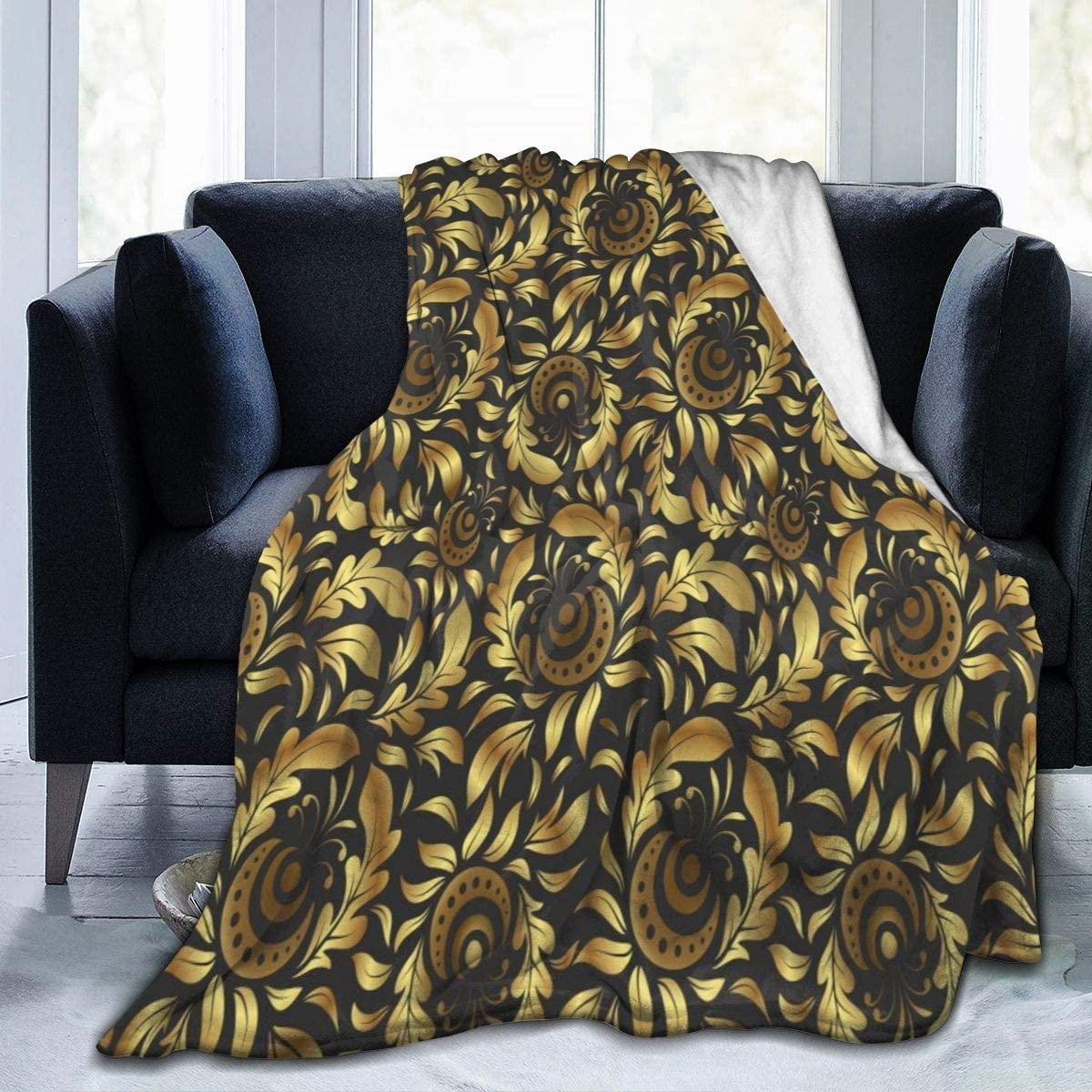 Micro Fleece Plush Soft Baby Blanket Golden Flower Floral Fluffy Warm Toddler Bed/Crib Blanket Lightweight Flannel Daycare Nap Kids Sleeping Tummy Time Throw Blanket Girls Boy Clearance Kid/Baby